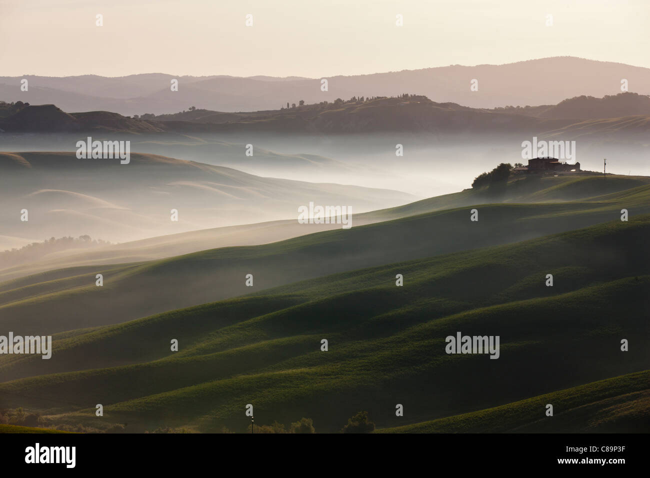 Italy, Tuscany, Crete, View of farm with fog at hilly landscape - Stock Image