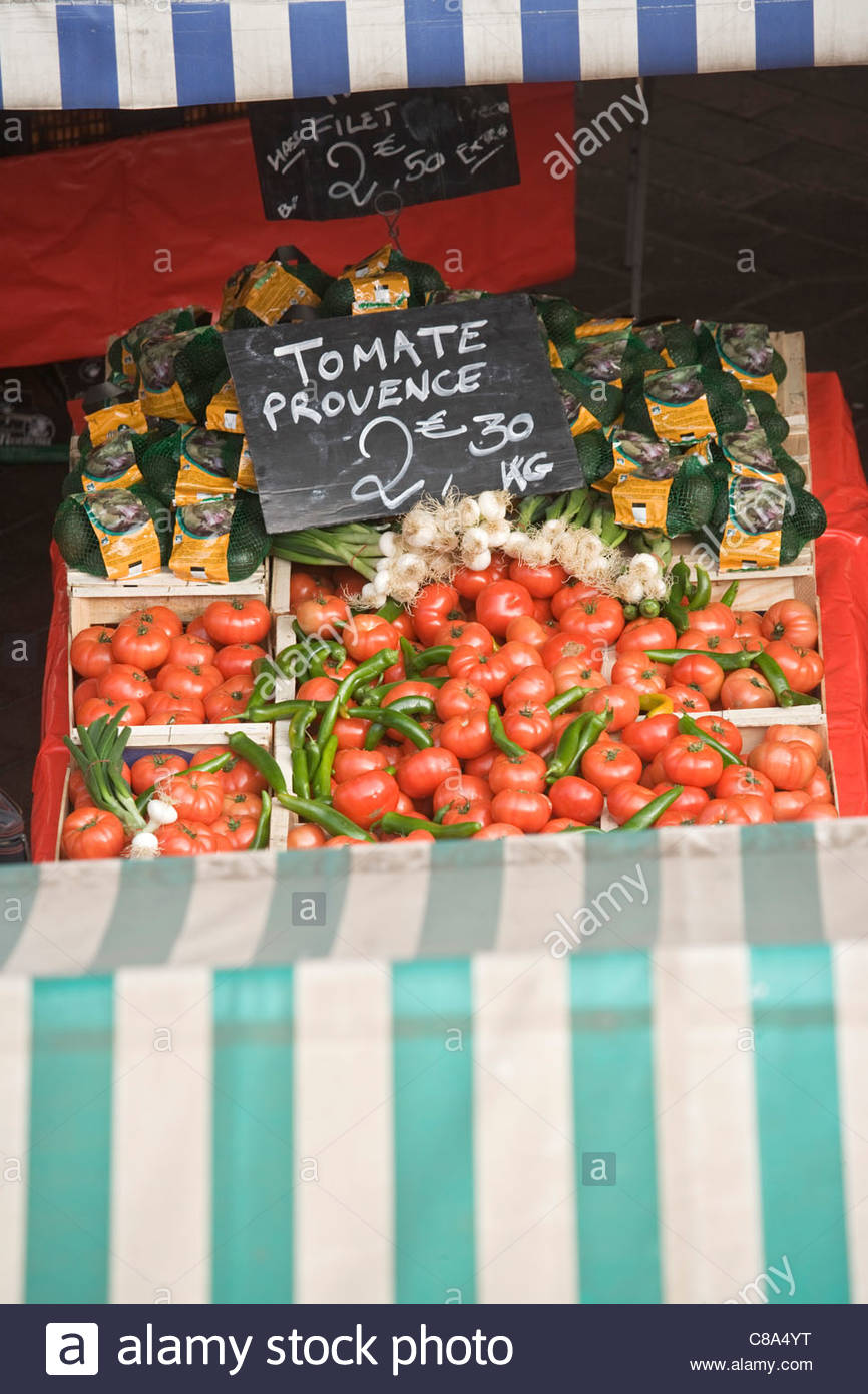 Tomatoes from Provence on the ' Marché du Cours Saleya', Nice - Stock Image