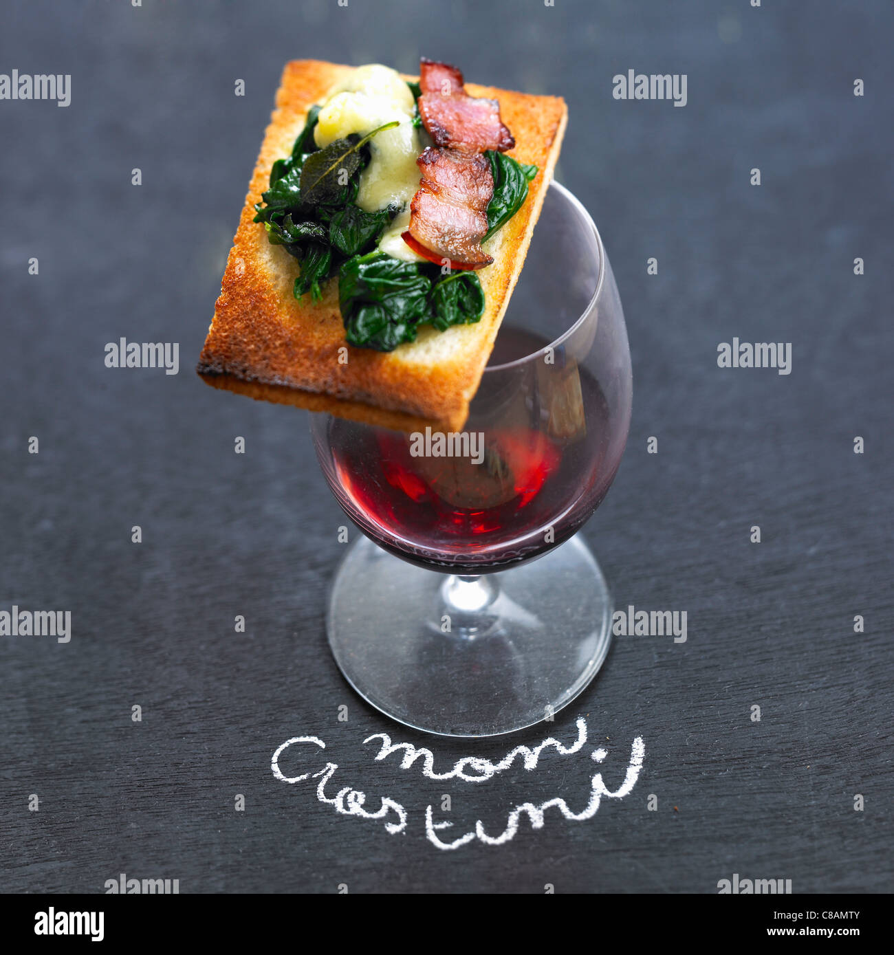 Spinach,bacon and sage Crostini - Stock Image