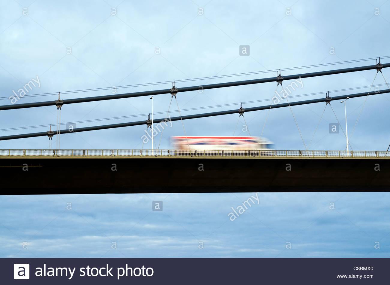 truck on bridge - Stock Image