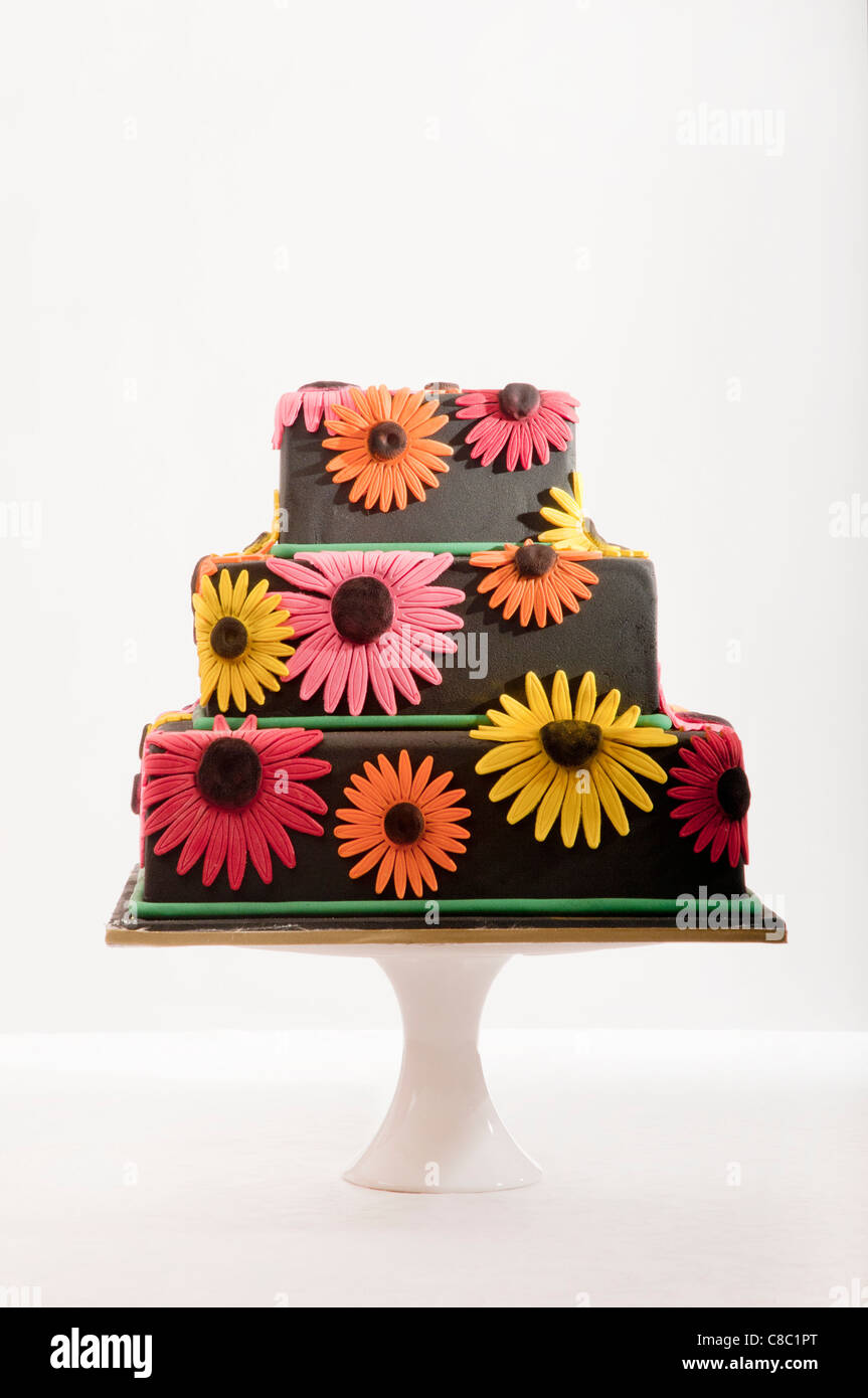Black Tiered Cake With Colourful Daisy Flowers On Stand On White