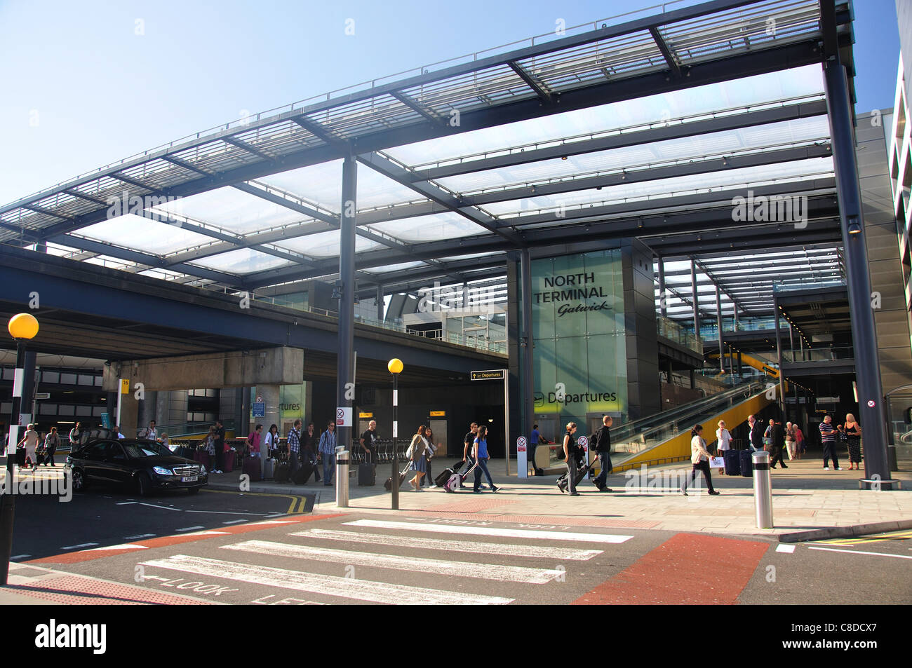 Departure level, North Terminal, London Gatwick Airport, Crawley, West Sussex, England, United Kingdom Stock Photo