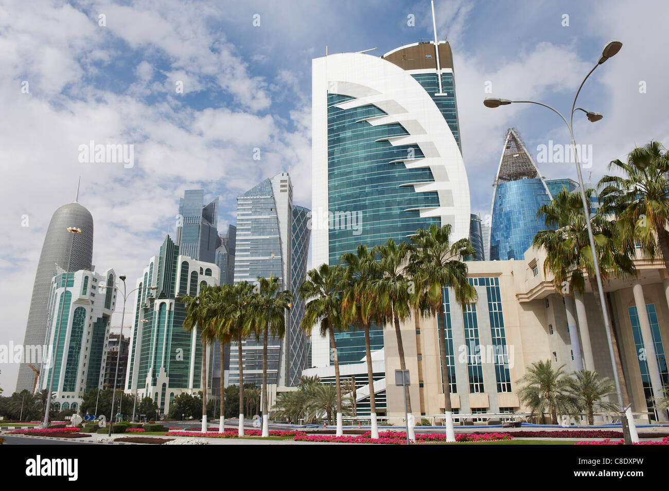 skyscrapers new buildings in the city center doha qatar - Stock Image