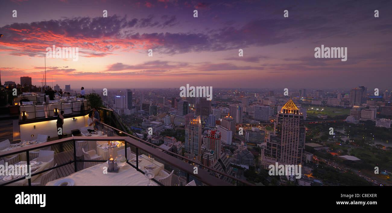 View, Bangkok, Restaurant, Vertigo Grill, Banyan Tree, Hotel, Leading Hotels of the World, City, Bangkok, Thailand, - Stock Image