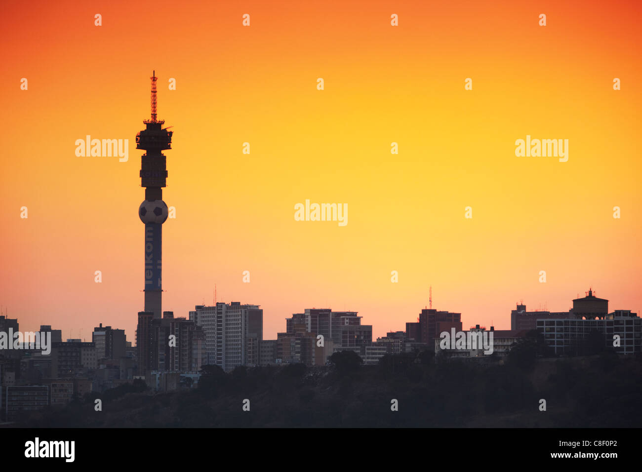 View of Johannesburg skyline at sunset, Gauteng, South Africa - Stock Image