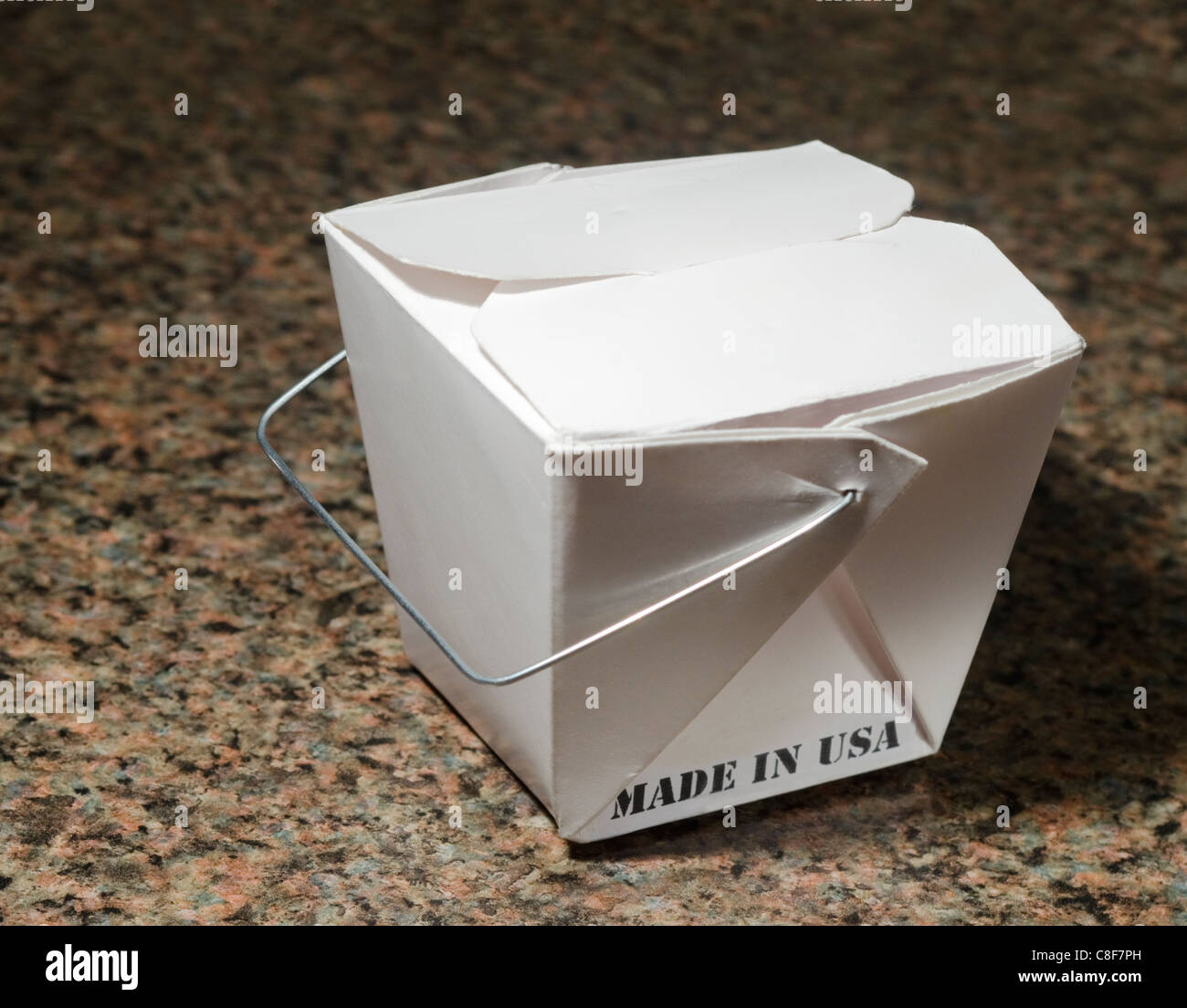 Chinese food container with Made in USA label - Stock Image