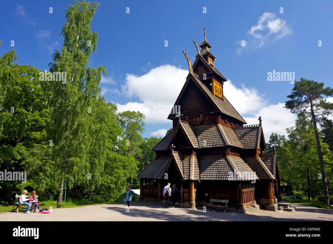 Gol 13th century Stavkirke (Wooden Stave Church, Norsk Folkemuseum (Folk Museum, Bygdoy, Oslo, Norway, Scandinavia - Stock Image