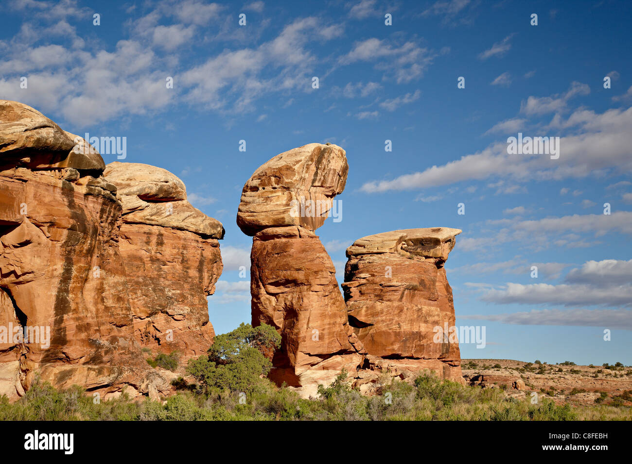 Rock formation with clouds, The Needles District, Canyonlands National Park, Utah, United States of America - Stock Image