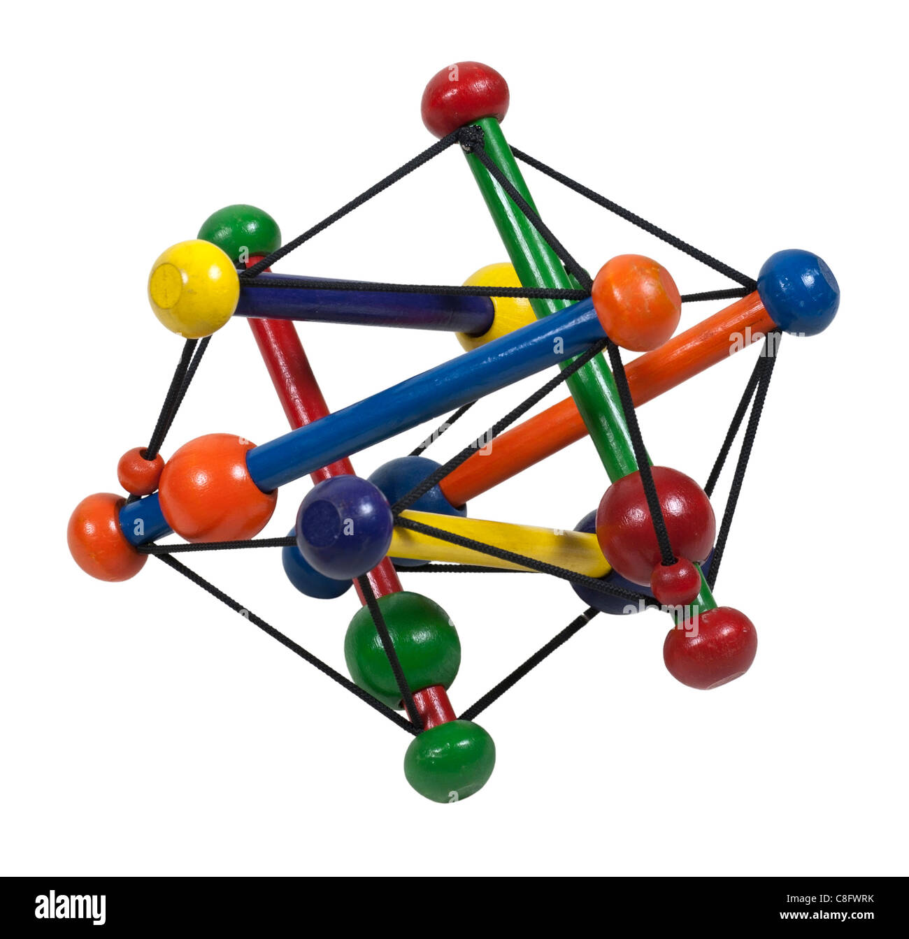 Atom model made of beads and strings - path included - Stock Image