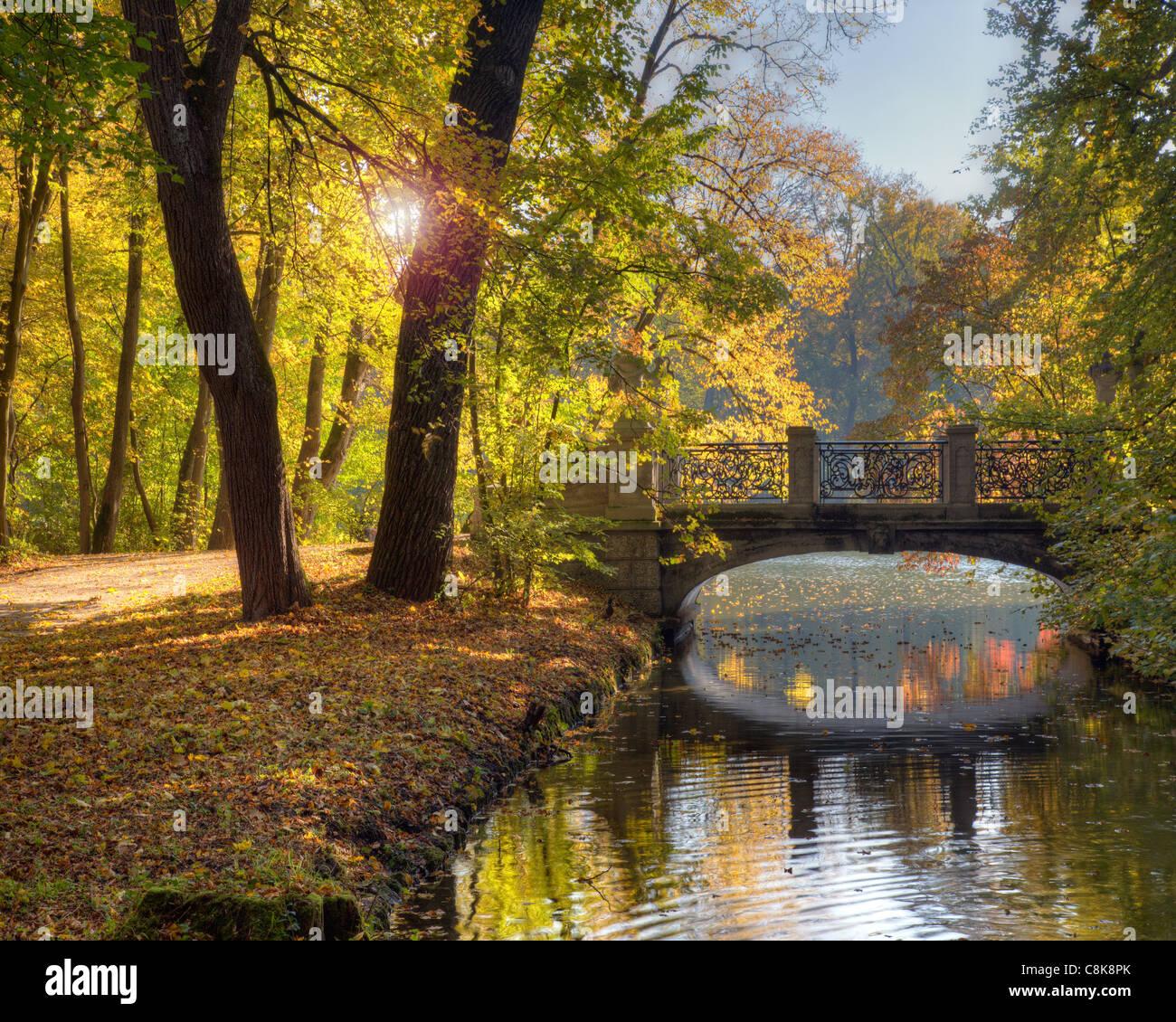 DE - BAVARIA: Autumn in park of Nymphenburg Palace, Munich - Stock Image