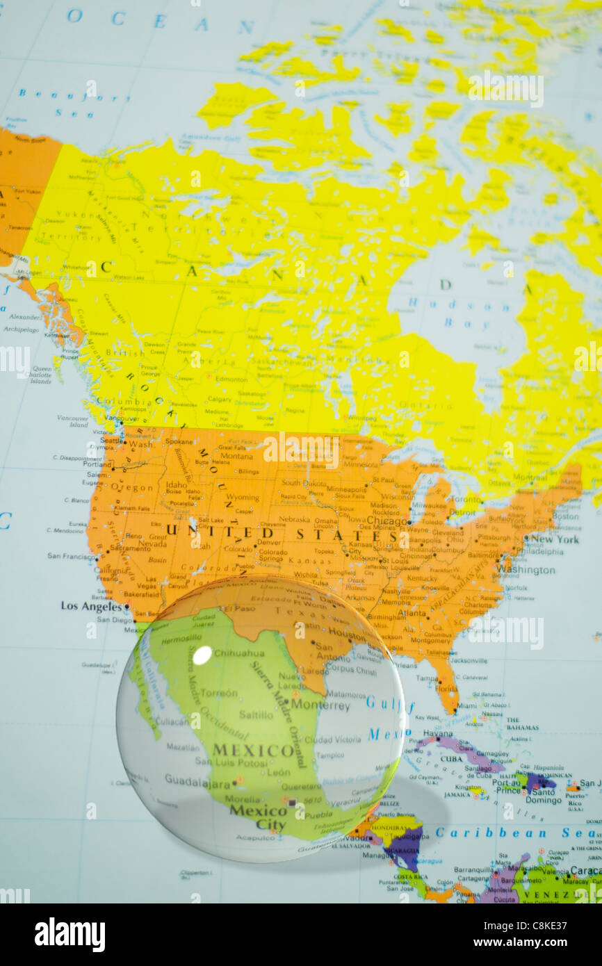 Crystal ball over mexico on world map stock photo 39766139 alamy crystal ball over mexico on world map gumiabroncs Images