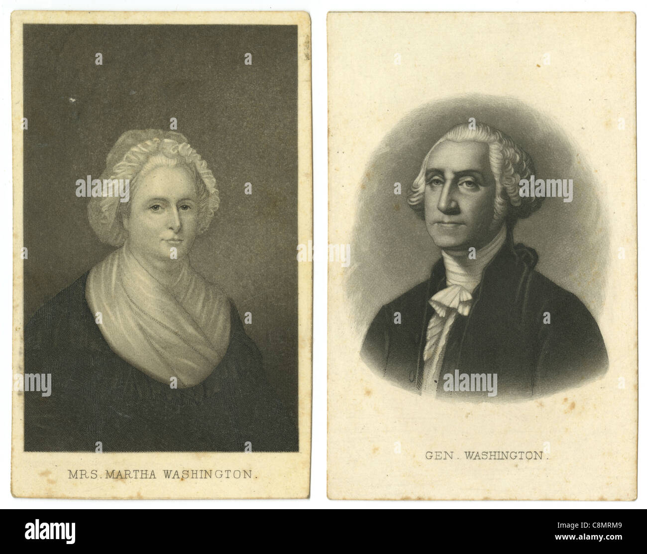 Carte De Visite Style Cards For Martha And George Washington