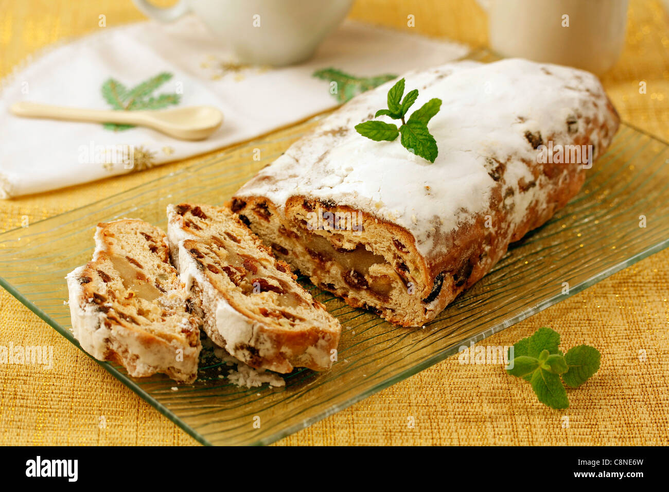 Marzipan with fruits. Recipe available. - Stock Image