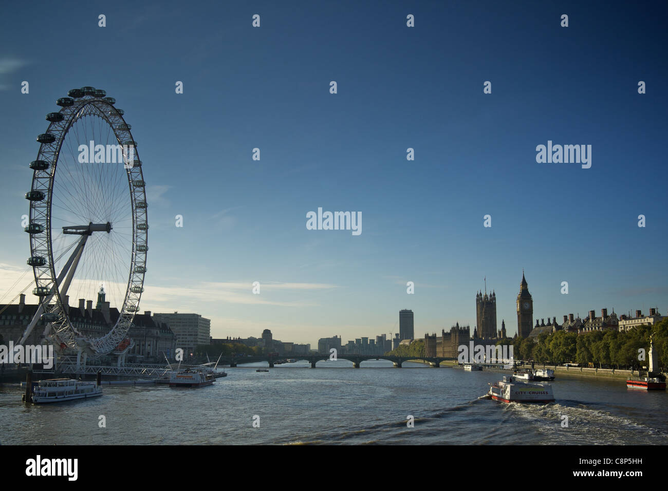 The London Eye and skyline from Golden Jubilee Bridge Stock Photo