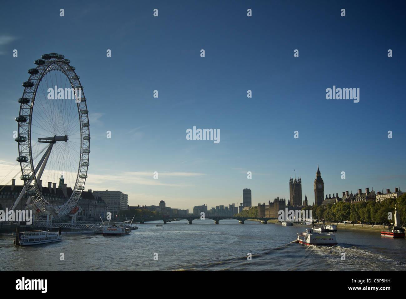 The London Eye and skyline from Golden Jubilee Bridge Stock Photo