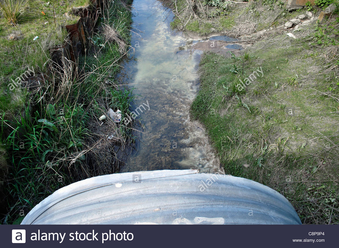 Waterway polluted by discharges from chemical industry, UK - Stock Image