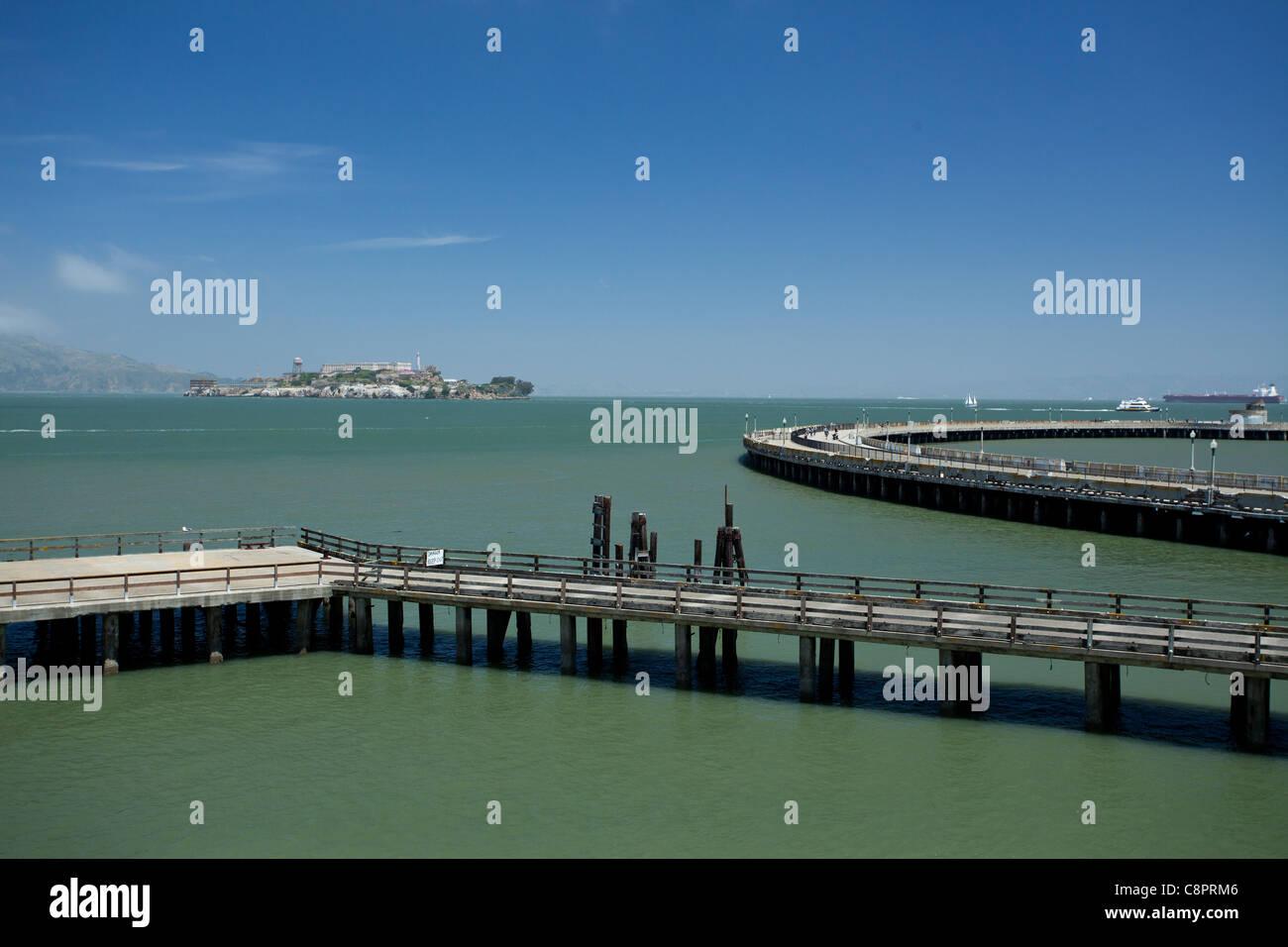 View of Alcatraz from Aquatic Park in San Francisco Stock Photo