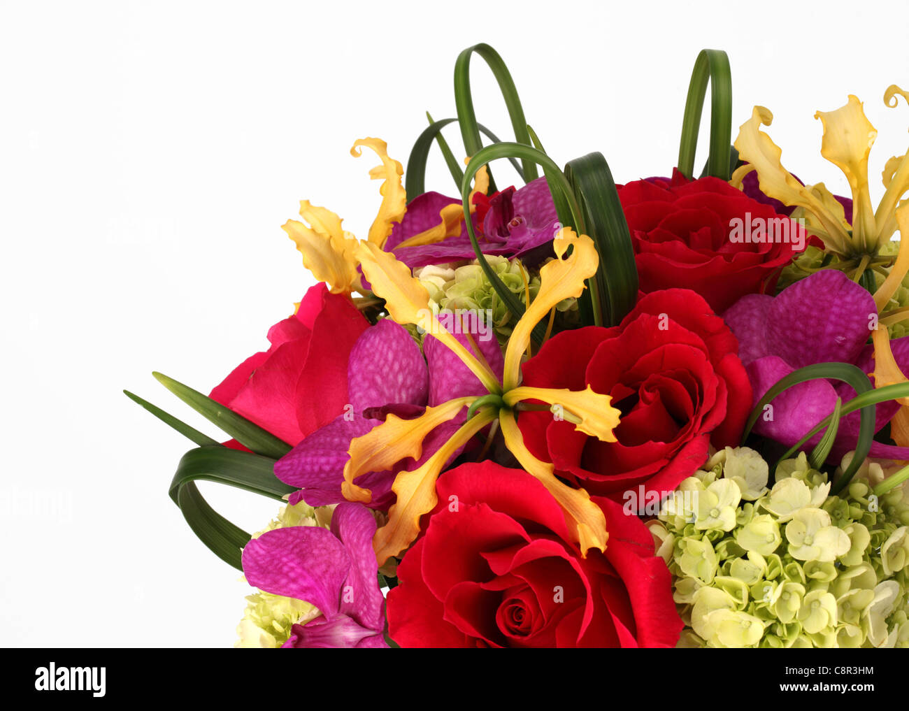 A close up of a colorful bouquet of flowers red roses cream stock a close up of a colorful bouquet of flowers red roses cream hydrangea yellow orchid laelia purple orchid vanda izmirmasajfo