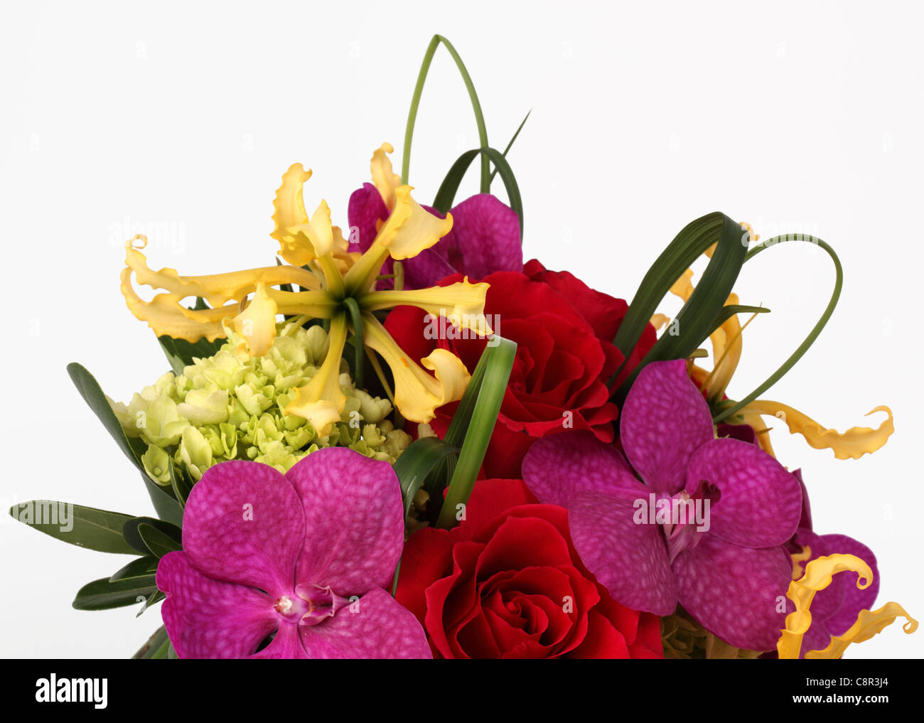 A close-up of a colorful bouquet of flowers. Red roses, cream Stock ...