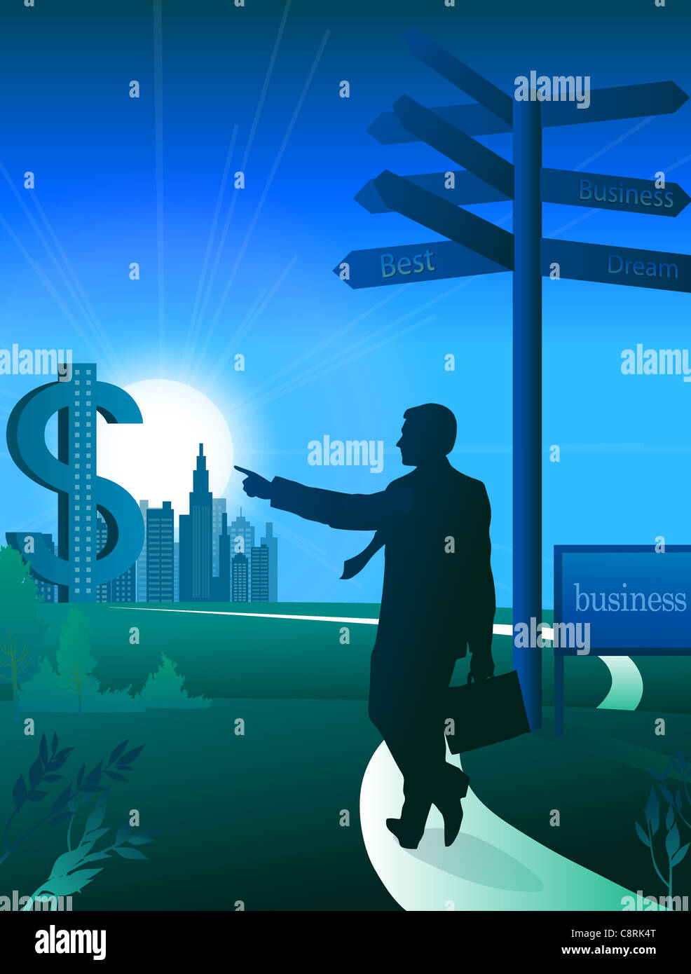 Illustration of businessman and dollar sign - Stock Image