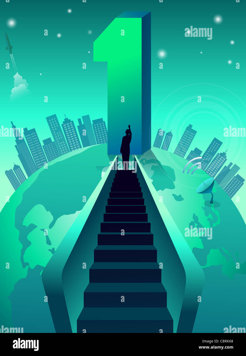 Illustration of a man and success - Stock Image