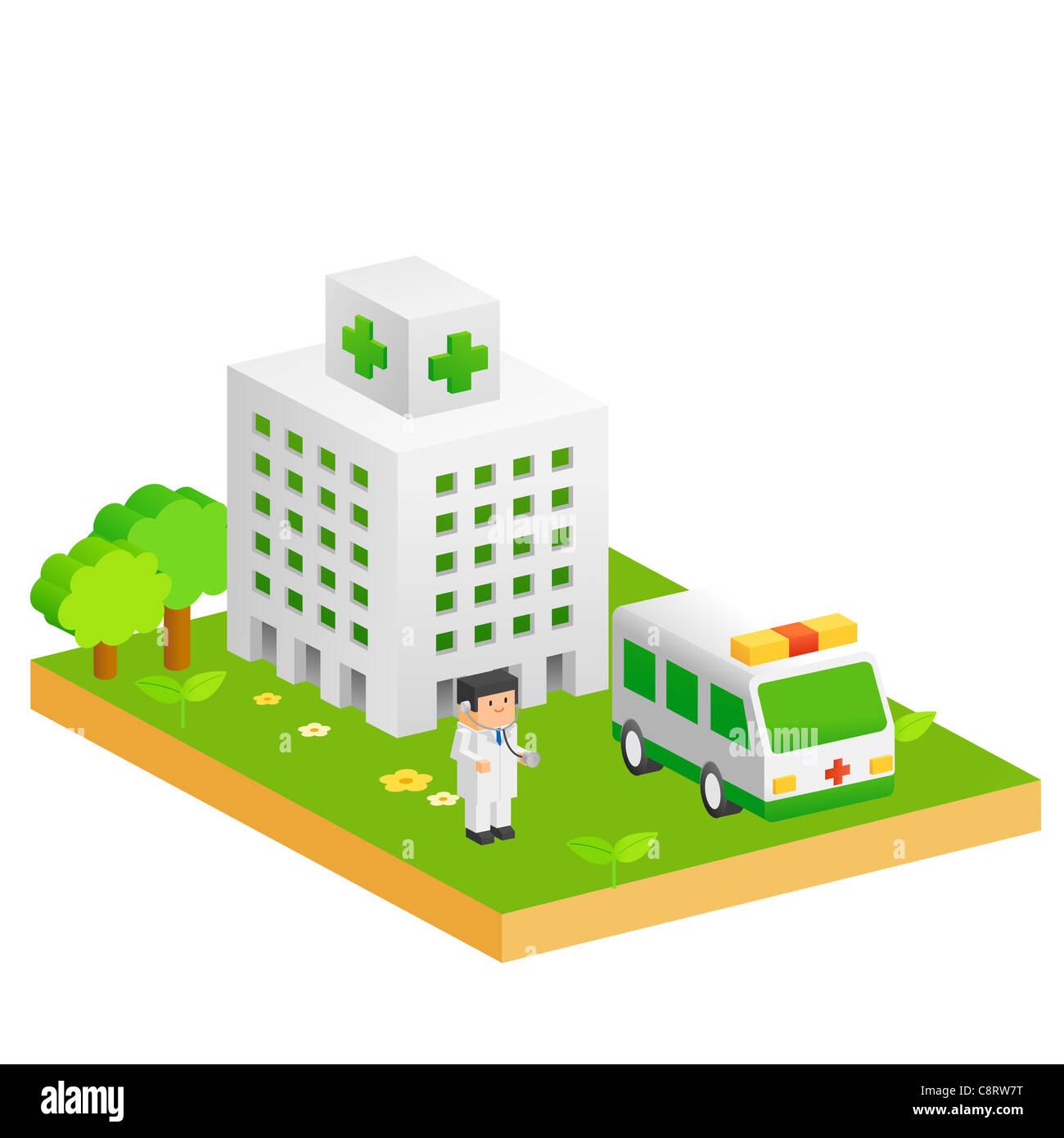 Hospital, Doctor And Ambulance - Stock Image