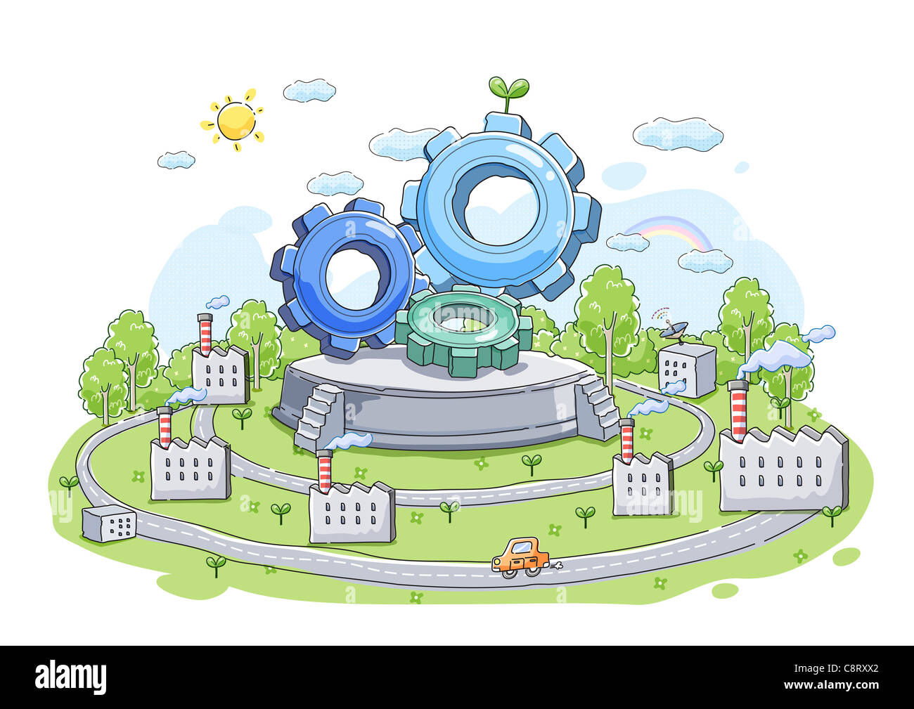 Illustration of gears with factory and cars in background - Stock Image