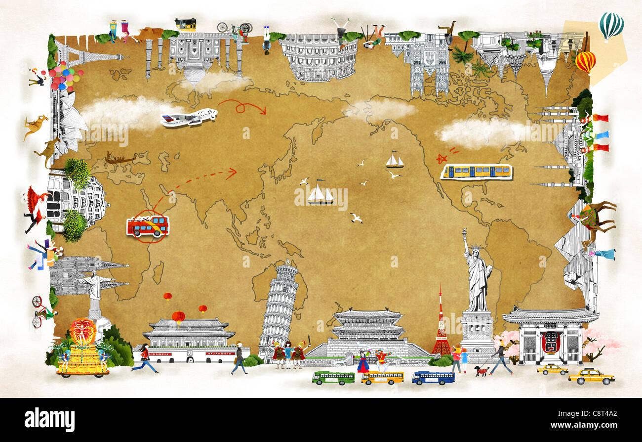 Map And International Landmark - Stock Image