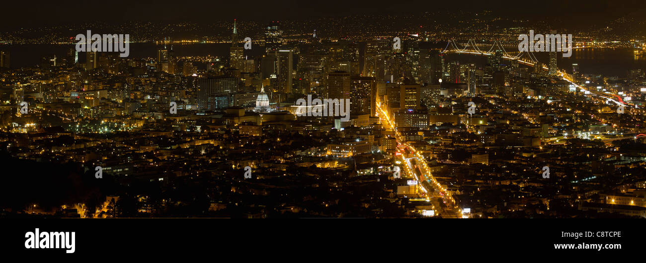 San Francisco California Cityscape at Night with Bay Bridge at Night Panorama - Stock Image