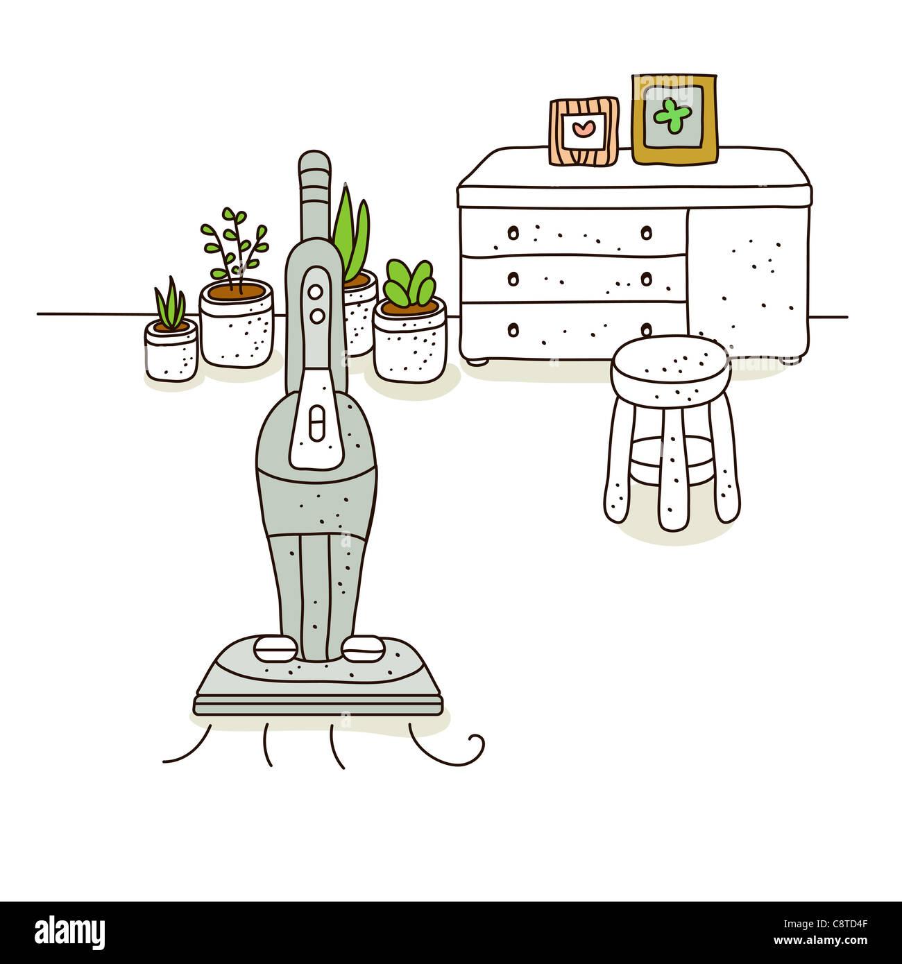 Illustration of vacuum cleaner - Stock Image
