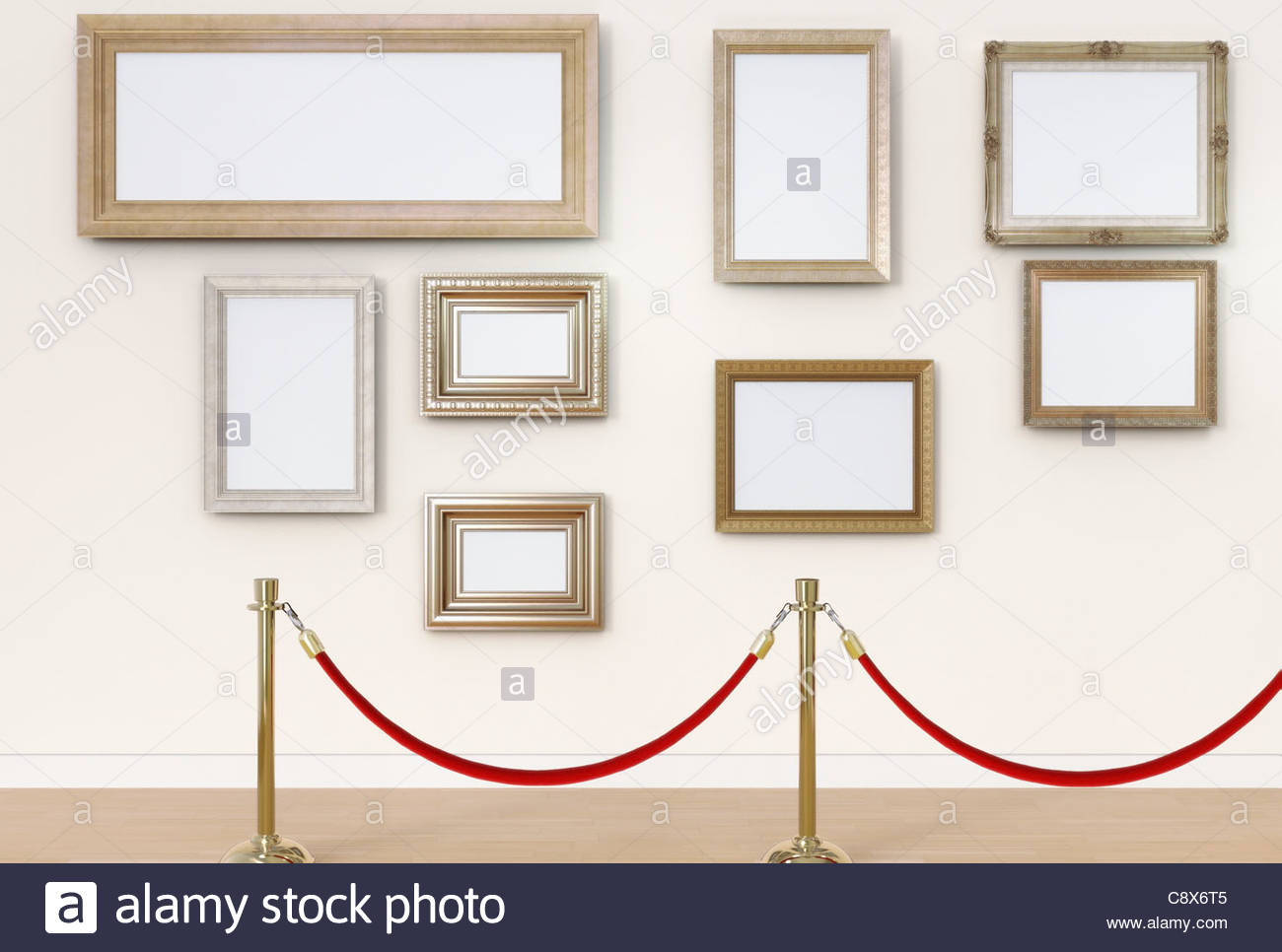 Empty picture frames behind cordon in art gallery Stock Photo ...
