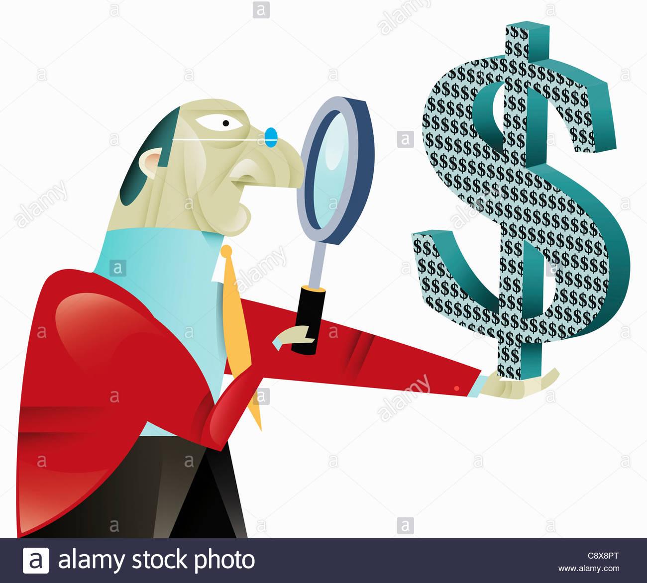 Businessman examining dollar symbol with magnifying glass - Stock Image