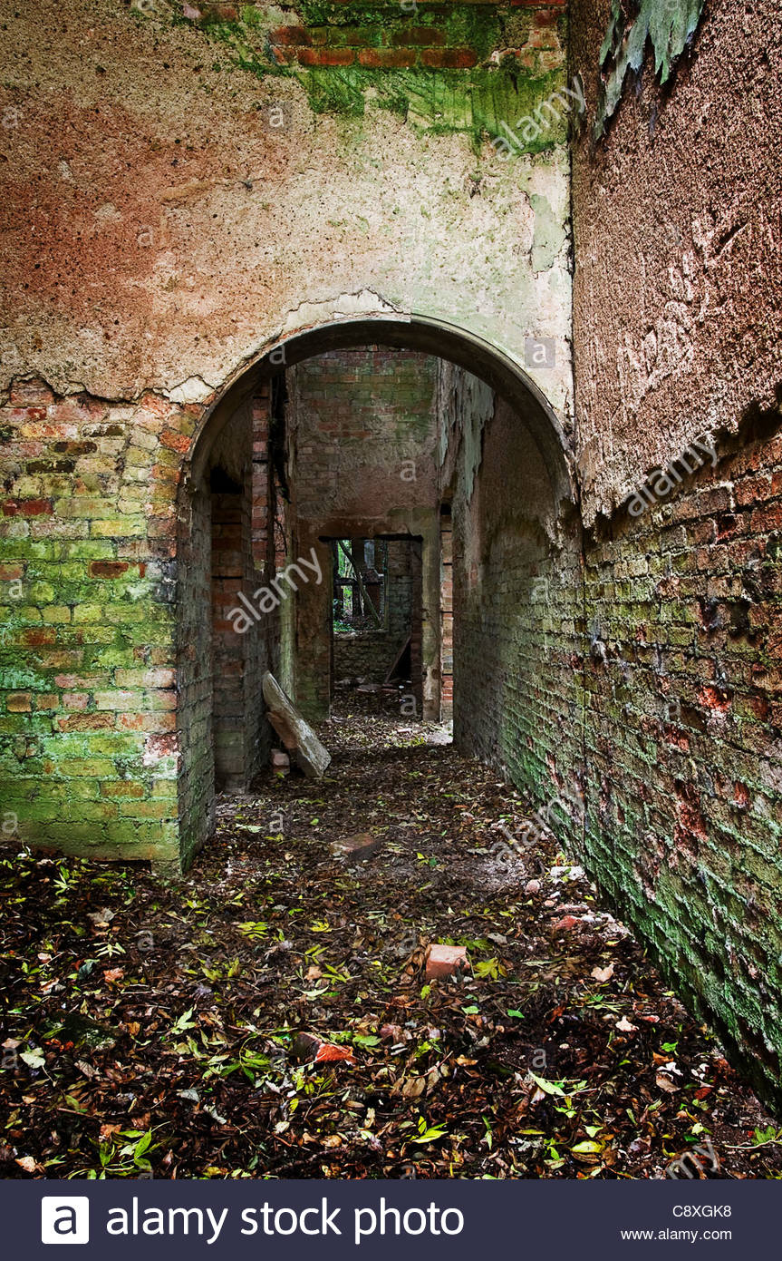 Derelict brick ruins - Stock Image