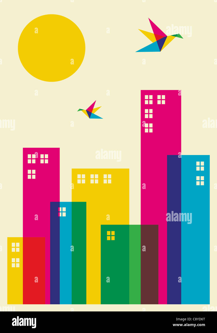 Spring time in the city. Full color humming birds flying over the city. Vector file available. Stock Photo