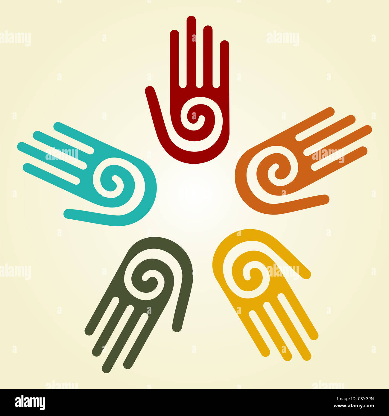 Hand With A Spiral Symbol On The Palm On A Circle Of Hands Stock