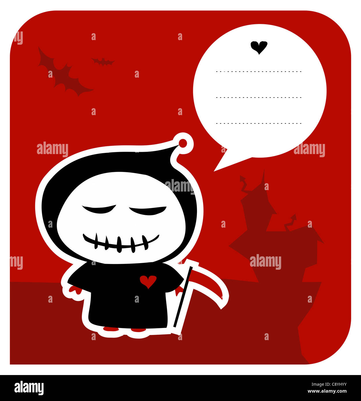 Grim reaper cut out stock images pictures alamy funny grim reaper invitation with reaping hook and speech bubble usable as greeting card vector bookmarktalkfo Image collections