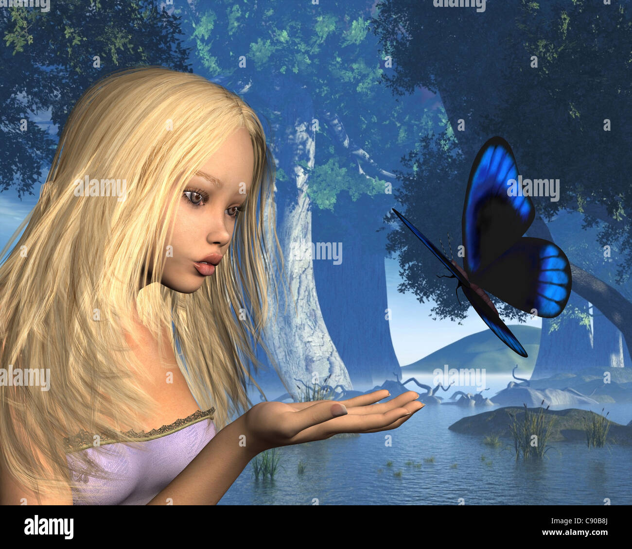 Blue Butterfly and Water Nymph in Peaceful Woodland - Stock Image