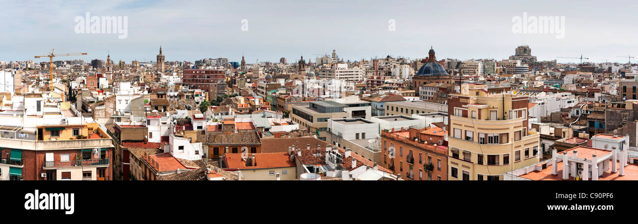 Panorama of Casco Antiguo North from the Torres de Quart, Valencia, Spain - Stock Image