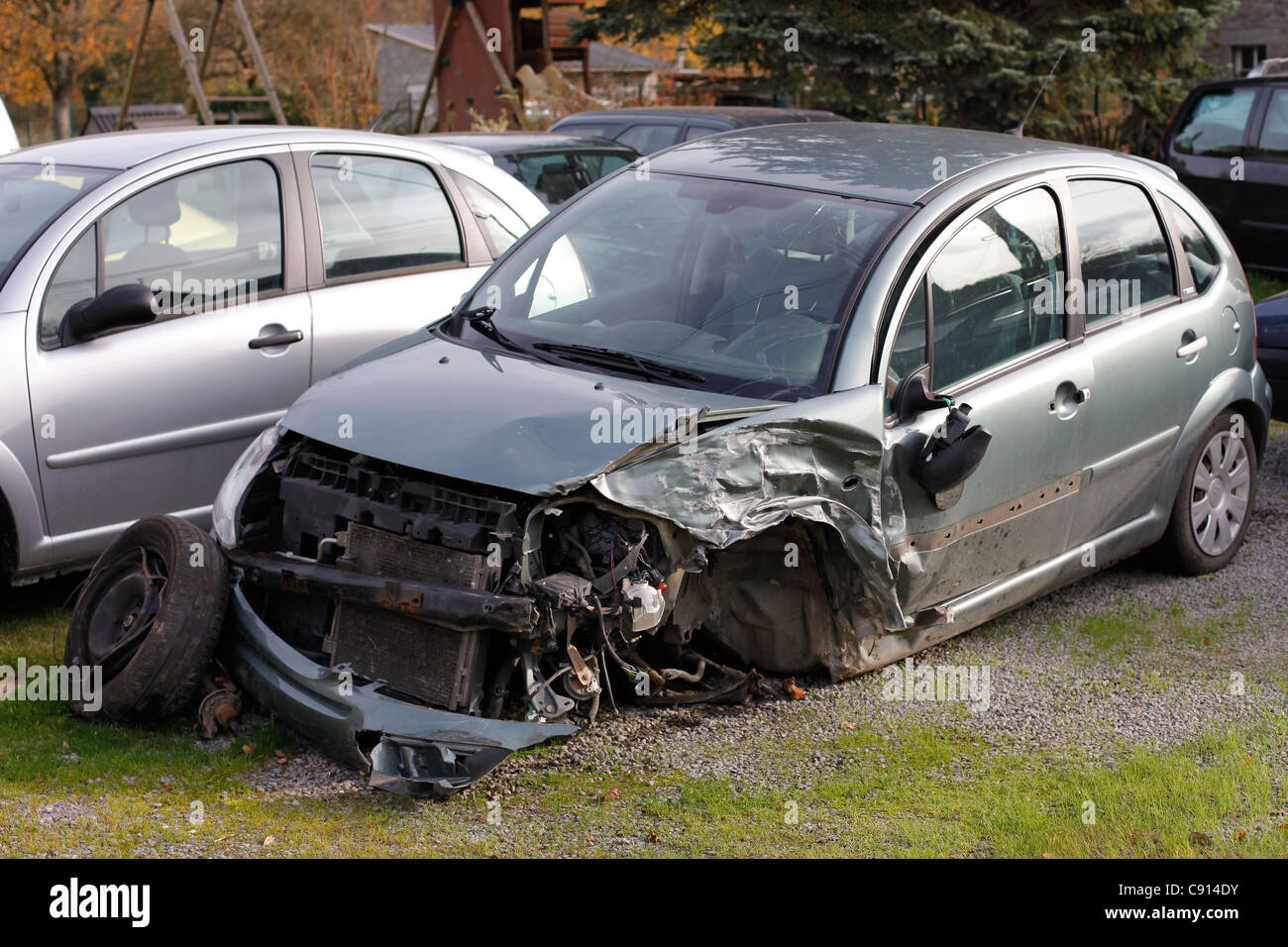 A crashed car - Stock Image