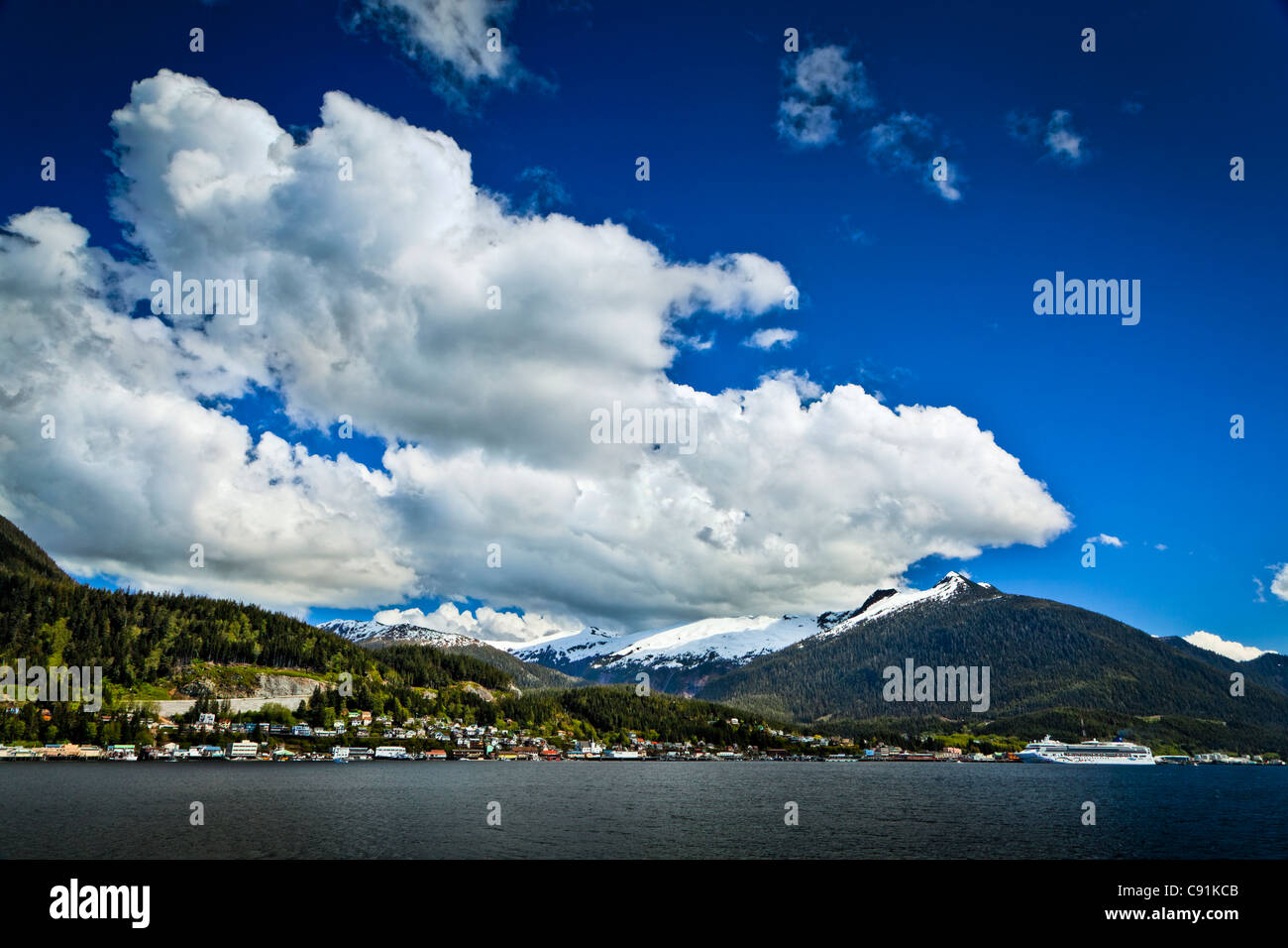 Scenic view of the Port of Ketchikan, Inside Passage, Southeast Alaska, Summer - Stock Image