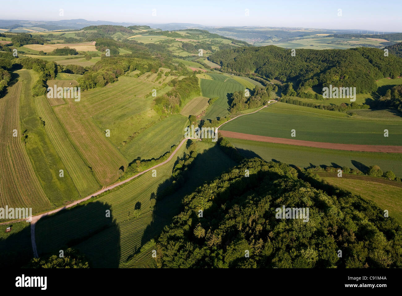 Aerial view of fertile landscape, Weser Hills, Lower Saxony, Germany - Stock Image