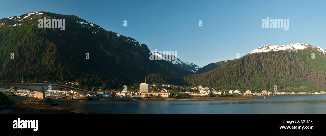 Daytime view of downtown Juneau seen from Douglas Island, Inside Passage, Southeast Alaska, Summer - Stock Image