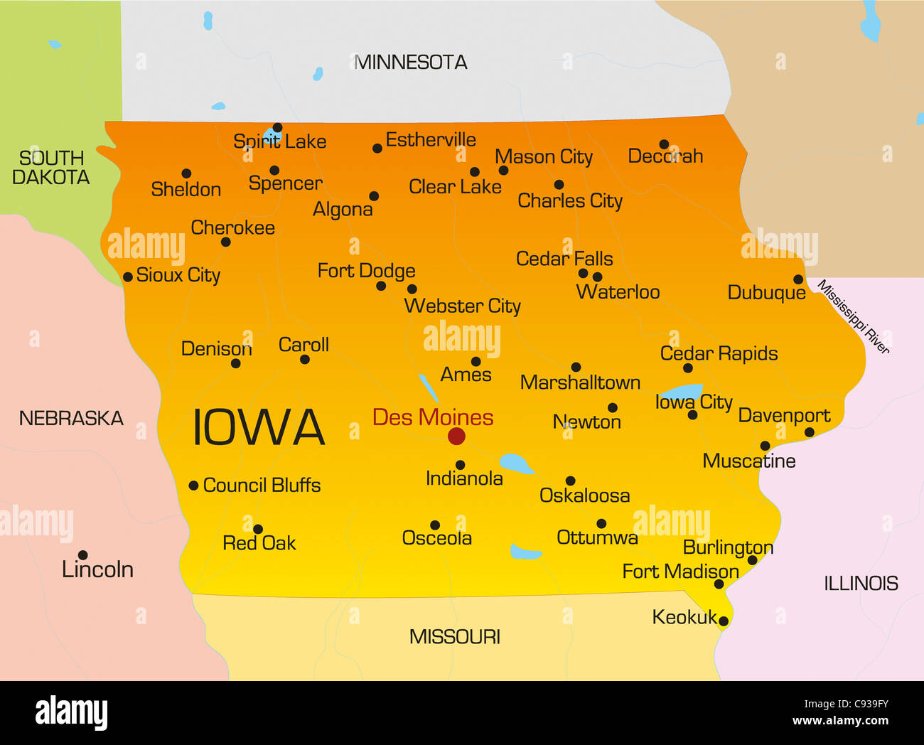 Vector color map of Iowa state. Usa Stock Photo: 40025999 - Alamy