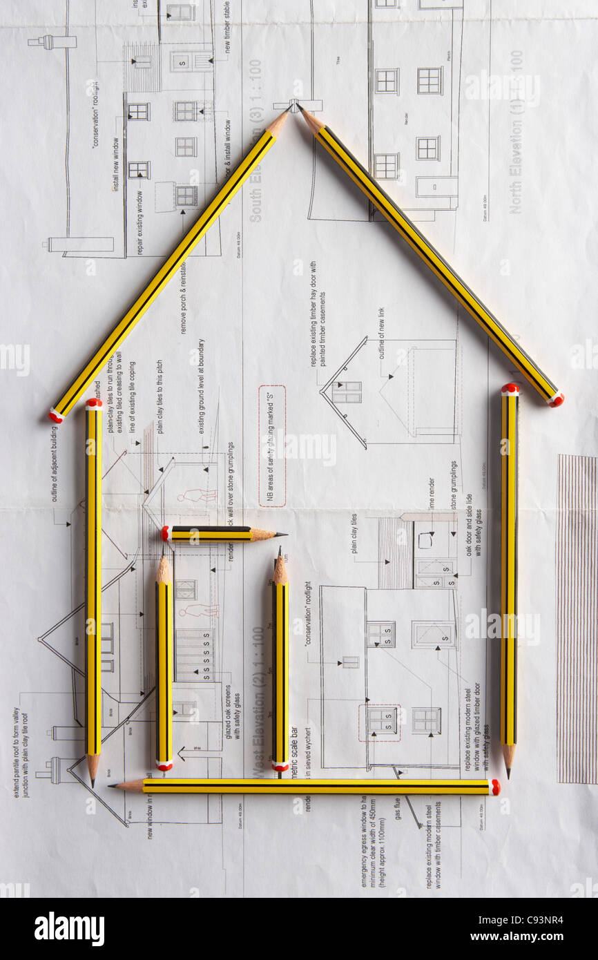 Architectural drawing and pencils - Stock Image