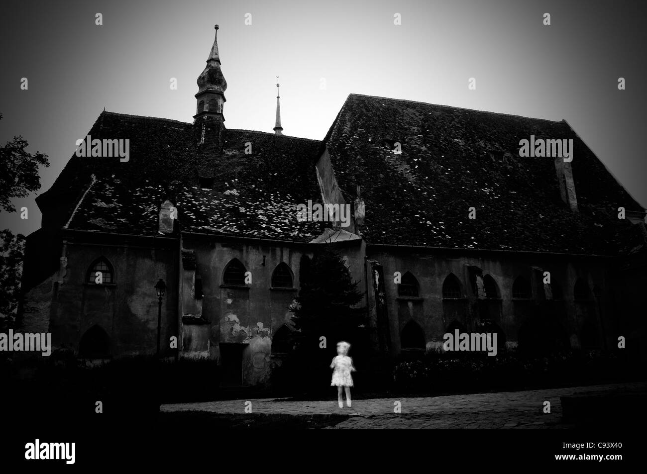 Romania, Sighisoara.Church. Ghost appearance - Stock Image