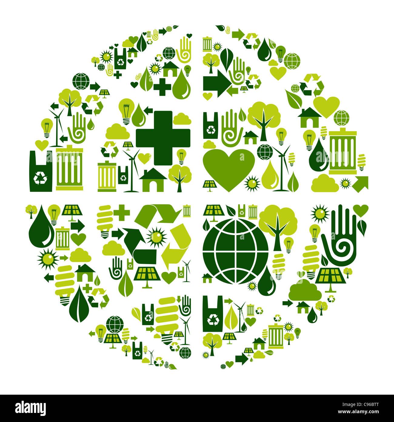 World symbol social media with environmental icons. - Stock Image