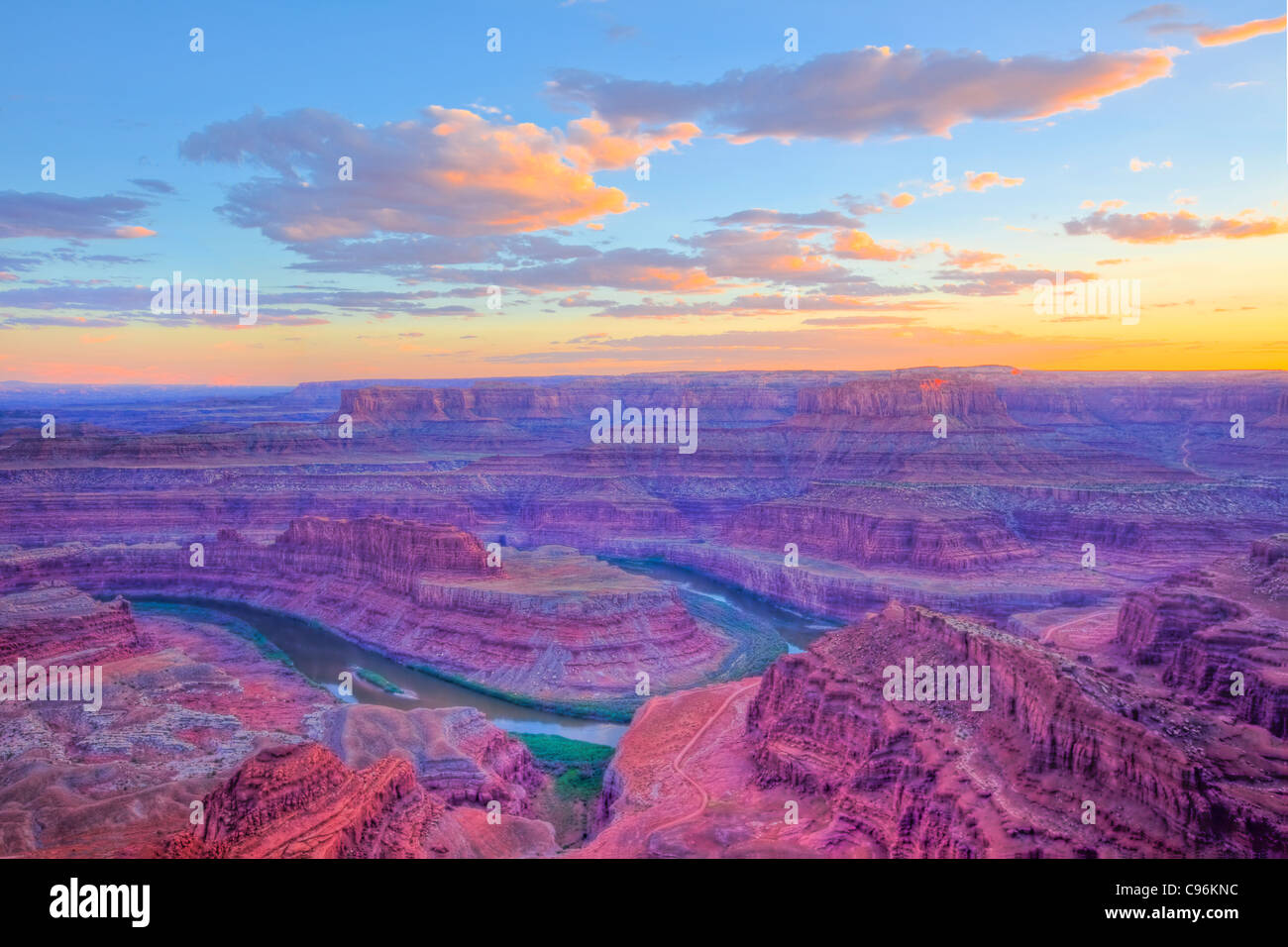 Dead Horse Point at sunset, Dead Horse Point State Park, Utah, Colorado River, Looking into Canyonlands National - Stock Image