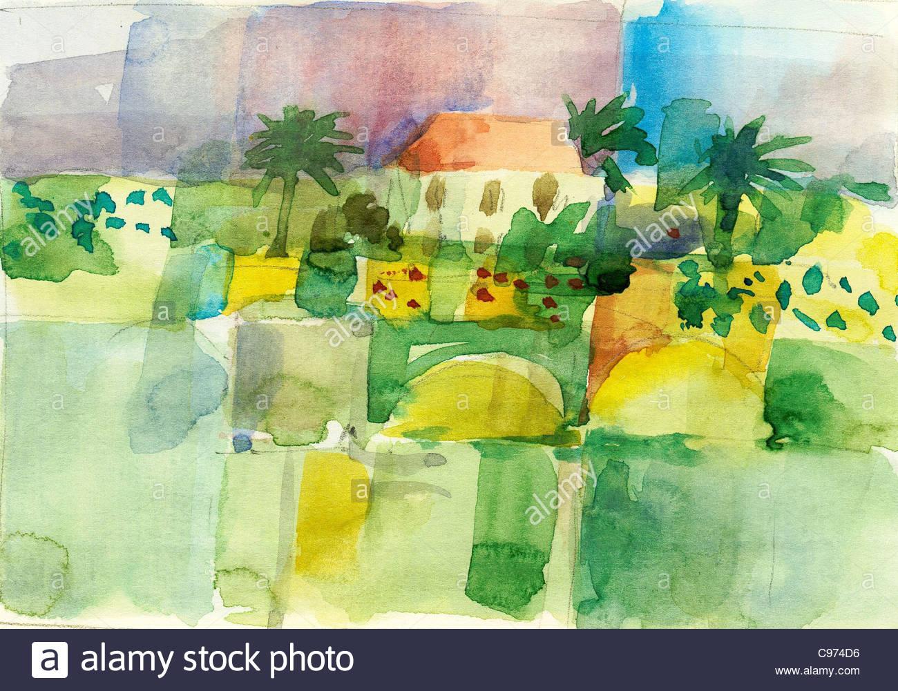 Travel sketches Canary Islands La Palma Stock Photo