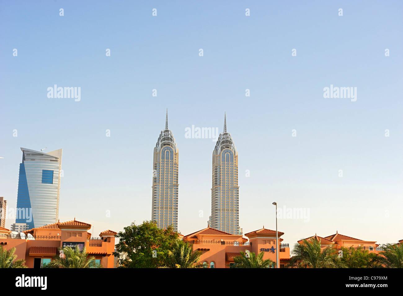 High-rise buildings, downtown Dubai, Dubai, United Arab Emirates, Middle East - Stock Image