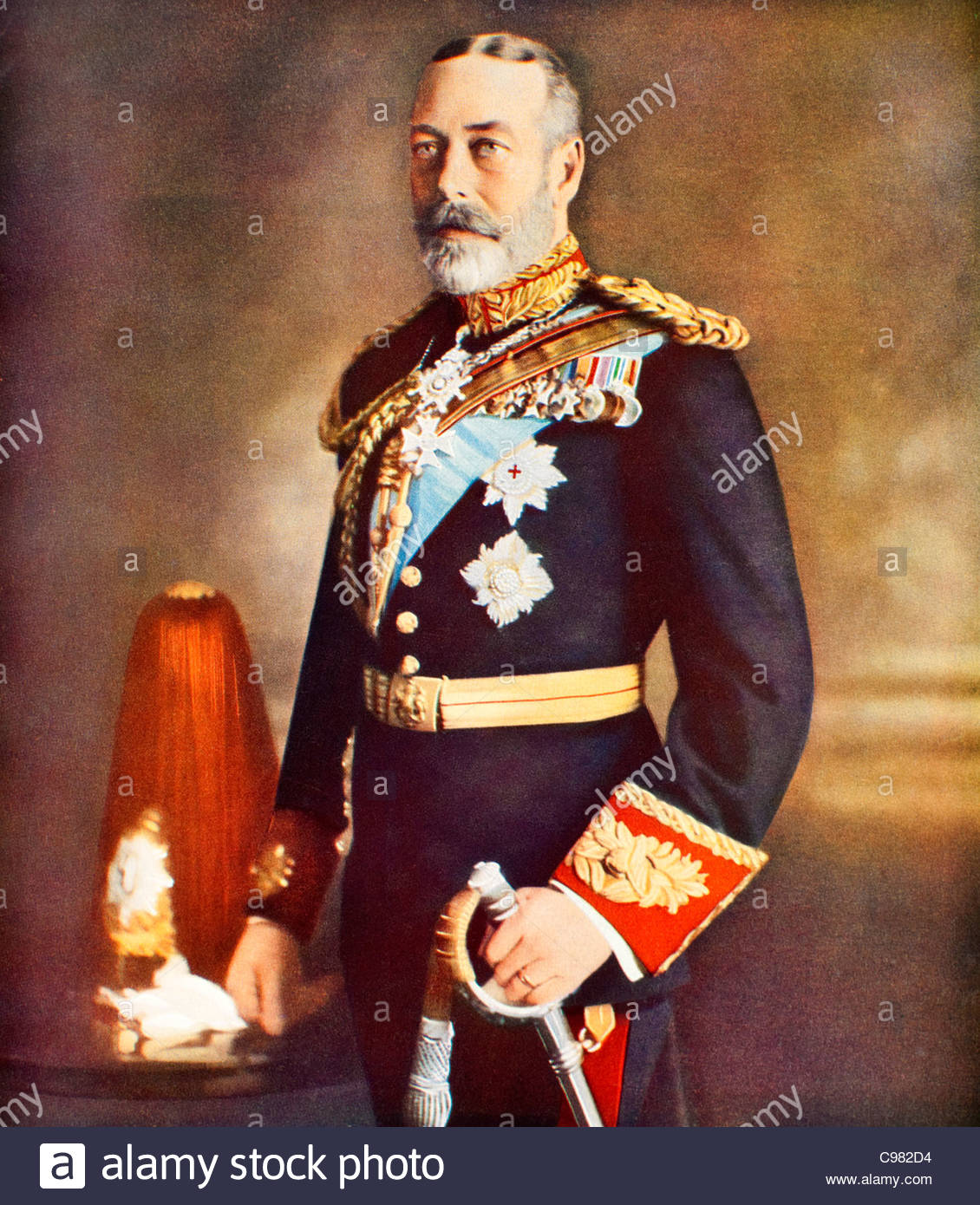 Antique portrait of King George V - Stock Image